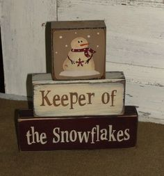 Keeper of the Snowflakes Primitive Wood Block Set #snowman_crafts_2x4