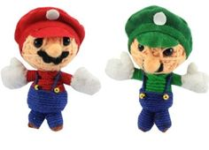Mario and Luigi Super Bros String Doll Voodoo Keychain NaLuck. $9.99 Diy Voodoo Doll Keychain, String Voodoo Dolls, Axolotl, Mario And Luigi, Cassie, Keychains, Diy And Crafts, Dinosaur Stuffed Animal, Anna