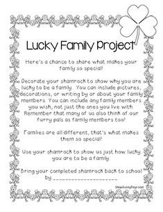 FREE Lucky to be a Family Shamrock Project - FREE Lucky to be a Family Shamrock Project - Classroom Fun, Preschool Classroom, Classroom Activities, Holiday Classrooms, Preschool Family, St Patrick Day Activities, March Themes, Family Engagement, Holiday Activities