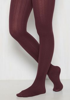 Cable for Discussion Tights in Plum - Purple, Solid, Special Occasion, Party, Work, Fall, Winter, Knit, Good