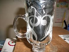 etched glass coffee mug for a music teacher