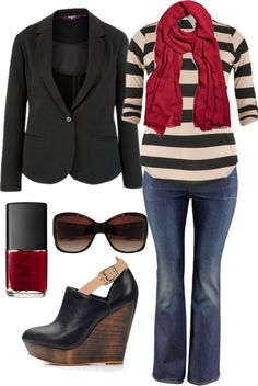 """Still Love Stripes - Plus Size"" by alexawebb ❤ liked on Polyvore"