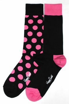 Pink and black dress socks