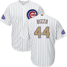 75f6d6d02 Cubs #44 Anthony Rizzo White(Blue Strip) 2017 Gold Program Cool Base  Stitched MLB Jersey