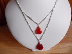 Red Onyx two drop necklace £12.00