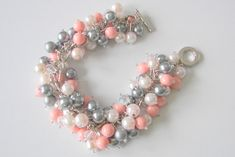 Coral ,white and Gray Pearls in a fabulous chunky cluster necklace