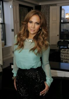 love the blouse style and colour and hair colour. love me some jlo