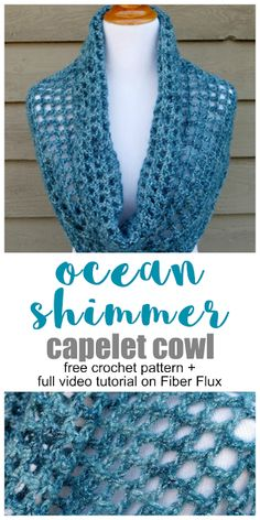 Patterns Cowl Ocean Shimmer Capelet Cowl, free crochet pattern + full video tutorial on Fiber Flux Crochet Cowl Free Pattern, Crochet Gratis, Easy Crochet, Free Crochet, Crochet Patterns, Double Crochet, Scarf Patterns, Crochet Ideas, Crochet Projects