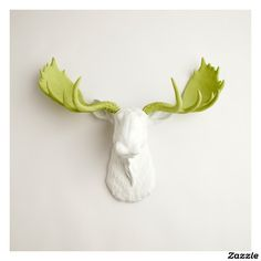 White Faux Moose Head with Mint Green Antlers,made by White Faux Taxidermy
