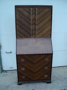 Art Deco Vintage Moderne Wood Drop lid Secretary desk Antique. $150.00, via Etsy.