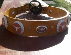 Texas Longhorn Beer Cap leather dog collar with by StickDogLeather, $58.00