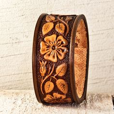 Vintage Tooled Leather Jewelry, Embossed, Stamped, Carved, Leathercraft, Belt Bracelet, Brown Cuff