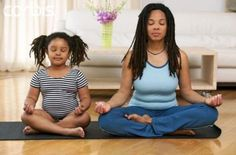 Mother and child, mother and daughter with locs doing yoga. LOVE it! #dreadlocks #health