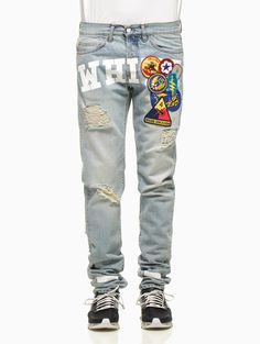 Embroidered vintage denim pants from the S/S2015 Off-White c/o Virgil Abloh collection.