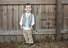 Re-purposing: Reversible Boy's Vest from Old Trousers-- thinking you could make this for your little Bro