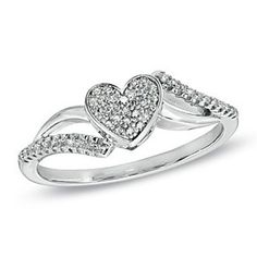 0.14 Ct Sterling Silver Diamond Heart Engagement Ring by JewelryHub on Opensky