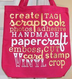 Cricut Word Collage Vinyl Scrapbooking Canvas Bag with Gypsy Cricut Cuttlebug, Cricut Cards, Cricut Vinyl, Silhouette Cameo, Silhouette Projects, Crafty Projects, Vinyl Projects, Scrapbook Canvas, Creating Keepsakes