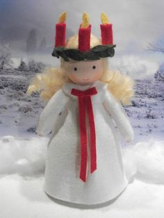 Swedish Christmas, Christmas Gnome, Christmas Angels, St Lucia Day, Sainte Lucie, Holiday Crafts, Holiday Decor, Kindergarten Crafts, Christmas Decorations