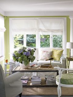 For decorating, I like green. From sea-foam green to forest green it's always been one of my favorite colors along with its companion, yellow. This country comfy style is what I would like for my perfect home.