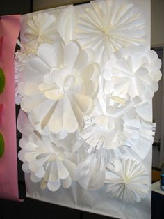 Giant paper flower wall...thinking of doing this in red, white and blue for July!
