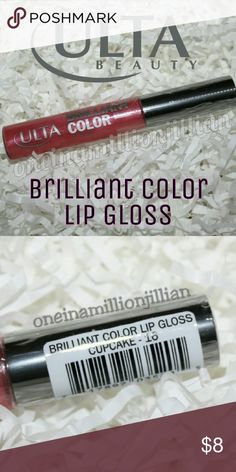 Ulta Brilliant Color Lip Gloss - Cupcake DISCONTINUED & NO LONGER AVAILABLE  Brand New / Sealed   Full Sz & Authentic   Color: Cupcake  Brilliant Color Lip Gloss provides great color payoff with a high shine finish & non-sticky feel. Infused with Aloe & Vitamins A & E, that hydrate & condition lips. Gluten free.  Don't forget to check out the rest of my page for more great items & discounts. #oneinamillionjillian Ulta Makeup Lip Balm & Gloss