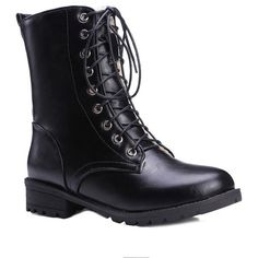 Black Color Lace-Up Combat Boots (130 CAD) ❤ liked on Polyvore featuring shoes, boots, military boots, combat boots, army boots, black lace up shoes and black boots