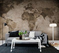 Hey, bekijk deze mural van Rebel Walls, World Map, brown! #rebelwalls #behang #mural