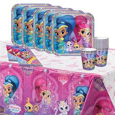 Each of these fantastic classic tableware party packs includes 32 paper 9oz cups 32 paper 9' plates 32 paper 6.5' napkins & a plastic table cover 96' x 54' all featuring a Shimmer and Shine themed d...