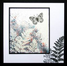 Card made with Brusho powder inks and rubber stamps by Chocolate Baroque..