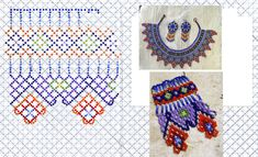 Beading Patterns, Embroidery Patterns, Blackwork Embroidery, Beading Techniques, Diy Accessories, Bead Weaving, Collars, Beaded Necklace, Kids Rugs