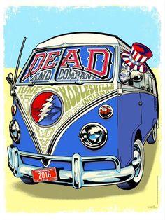 Would it be a Dead Head concert without a VW Bus? Grateful Dead Image, Grateful Dead Poster, Rock Posters, Concert Posters, Music Posters, Band Posters, Grateful Dead Wallpaper, Dead Images, Dead Pictures
