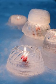 winter wedding!  Freeze water in bundt cake pans and then put candles in the hole for outdoor decorating!