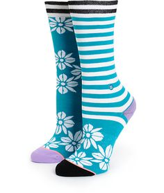 Add some Aloha to your style with the mixed hula flower and stripe print on this soft and buttery-feel combed cotton crew socks that feature springy elastic arch support for enhanced comfort.