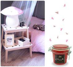 Chez cette fille: diy Diy Stool, Ikea Hack, Decoration, Nightstand, House Design, Bedroom, Hui, Furniture, Color