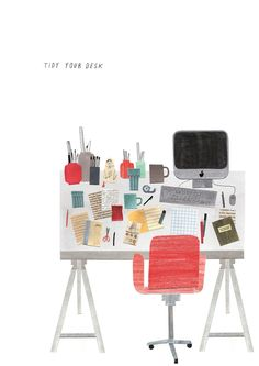 Grace Easton, illustration, desk, editorial, collage, studio, computer