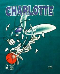Charlotte Hornets Mascot | Charlotte Hornets 1990's TShirt XL Vintage by SportsSportsSports