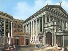 Reconstruction of the Temple of Vesta and the Arch of Augustus