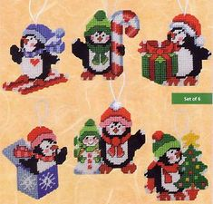 "Plastic Canvas Christmas Ornaments Kit ""Penguin Ornaments"" Snowman Set of 6 RARE Plastic Canvas Ornaments, Plastic Canvas Christmas, Plastic Canvas Crafts, Plastic Canvas Patterns, Victorian Christmas Ornaments, Christmas Sewing, Christmas Cross, Penguin Ornaments, Ornament Crafts"