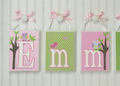 Baby Name Blocks Nursery Room Decor Pink Gray Flower Wood Sign Bedroom Hanging