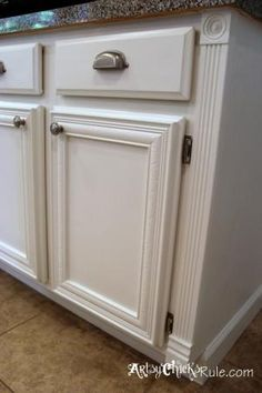 Bathroom vanity painted with Annie Sloan chalk paint – first coat Old  Ochre, then Old White, then sanded, seal with clear wax, sparingly use dark  w…