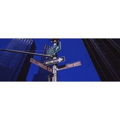 Low angle view of a street name sign Columbus Circle Manhattan New York City New York State USA Canvas Art - Panoramic Images (36 x 13)