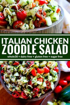 Italian Chicken Zoodle Salad is a yummy entree or side dish. It's packed with fresh flavors, dairy free, gluten free, and Whole30 compliant!