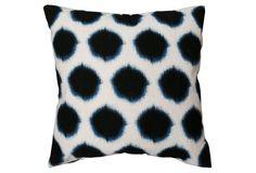 Thea 20x20 Pillow, Black/Blue