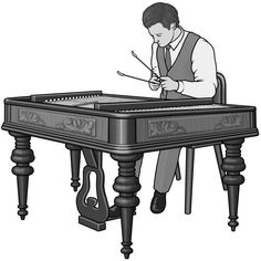 Grayscale images / cimbalom player