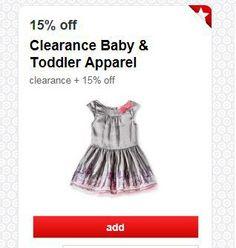 Target Cartwheel 15% off Clearance Baby & Toddler Apparel