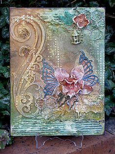mixed media butterfly flower
