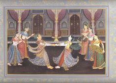 Mughal era painting (India) - Emporer celebrating Dance and Music