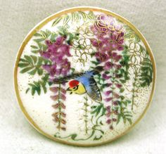 "Antique Meiji Satsuma Button Wisteria and Blue Bird w Gold Accents 1 1 8 "" | eBay"