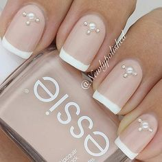 Nude French Tip Wedding Design