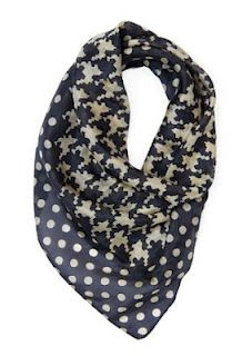 My Fashion Budget: 10 Great Finds Under $50 - I love this hound's tooth and polka dot scarf, only $19